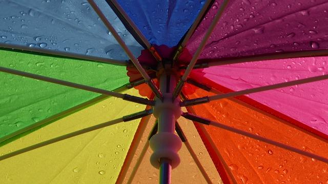 Paraguas de Arcoíris con gotas